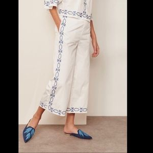 Anthropologie Embroidered Cotton Culottes Large
